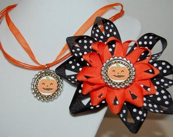 Halloween Pumpkin Bow and Necklace Set