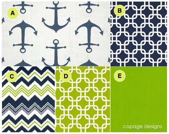 Navy and Chartreuse Anchors Nautical Theme Baby Boy Crib Bedding / Pick Your Fabrics & Design Your Own / Nautical Bumper Pad / Crib Skirt