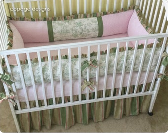 2-PC Set Sage Central Park Toile Baby Crib Bedding / Green and Pink Crib Set / Girl Baby Bedding -- Bumper Pad & Crib Skirt -- Made To Order