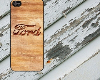 Rough Wood Engraved Ford Design on iPhone  5 / 5s / 5c / 6 / 6 Plus/7/7 Plus Rubber Silicone Case