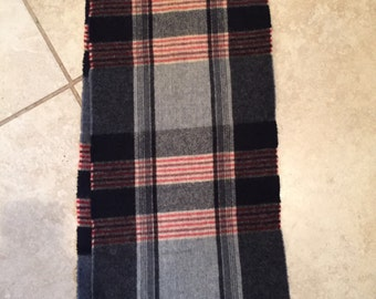 Vintage 90's Made in France Lambswool Plaid Scarf Wrap