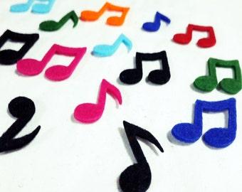 Thick Felt Music Notes - 12 Pieces - Felt Die Cut Music Notes