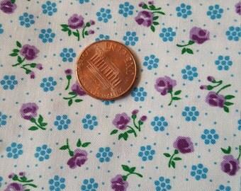 Vintage Material Yardage Flowers Gingham 1 Yard