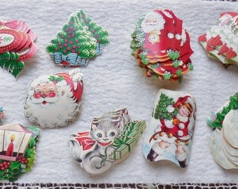 LARGE Lot of 70 Christmas Stickers Seals Felted Glitter Gummed