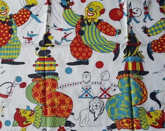 Vintage Novelty Fabric Circus Clowns Lions Trapeze