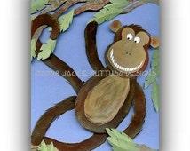 "Monkey art, 5 x 7"" Giclee print, Jungle nursery print, Animal collage, Paper sculpture print, Whimsical animal kids art, Jungle animal art"