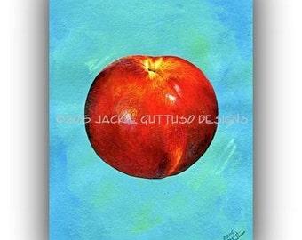 "Nectarine art 5 x 7"" Giclee print, Kitchen art, Print of acrylic fruit painting, Nectarine painting print, Dining room art, Food art print"