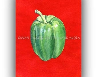 "Green pepper art 5 x 7"" Giclee print, Kitchen art, Print of acrylic vegetable painting, Pepper painting print, Dining room art, Food art"