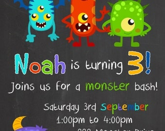 My little Monster Chalk Board Birthday Invitation - Digital file for DIY Printing - JPEG File