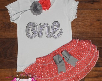 Silver and Coral Hot Pink Ruffle Bloomers Outfit