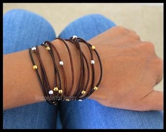 Leather Wrap Bracelet - Adjustable Silver Gold Accent Bohemian Boho Leather Triple Wrap Bracelet Extension Chain - SIZE / COLOR - Usa - 786