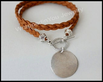 Boho Choker / Double Wrap Wrap Bracelet - Hand Braided Faux Suede Wrap w/ Silver Stamping Coin Disc -  Pick COLOR / SIZE / STYLE  - 717