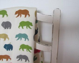 Organic Baby Blanket, BEARS, Receiving Blanket, Organic Fleece, Bear Hike Multi, Birch Fabrics, 28 x 32 Inches, Eco-Friendly Baby