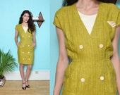 80s CHARTREUSE secretary dress // yellow green retro mod POCKET SQUARE preppy double breasted dressy work shift dress