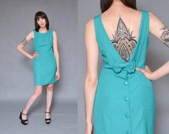 90s Button Up Mini Dress M Bow Tie Mod MINIMAL Teal Blue Green Cut Out Backless Sleeveless Linen Shift Dress