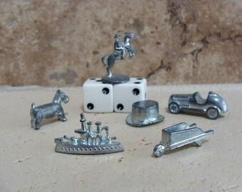 1996 SIX Monopoly Game Pieces Includes TWO Dice Arts & Crafts Supplies