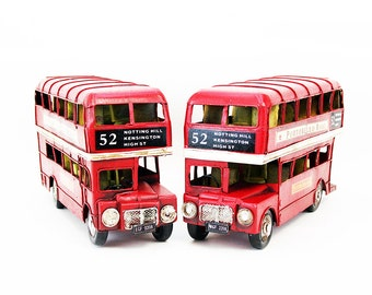 Pair of Metal London Routemaster Double Decker Buses