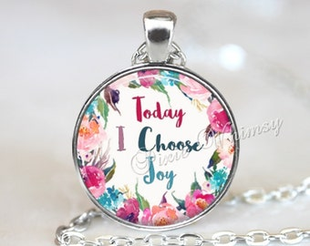 CHOOSE JOY Necklace, Joy Pendant, Joy Keychain, Quote Necklace, Quote Pendant,  Inspirational Quote, Positive Affirmation, Inspirational