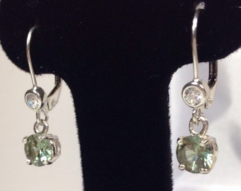 BEAUTIFUL 3ct Green Amethyst & White Sapphire Sterling Silver Lever Back Earrings Gift Jewelry Holiday Trends Green Prasiolite earrings
