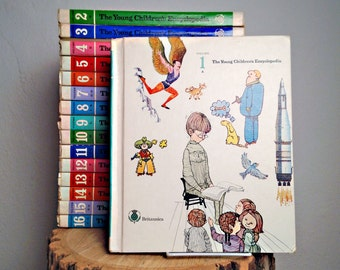 Vintage Children's Books The Young Children's Encyclopedia Britannica First Printing 1970 Complete 16 Volume Set