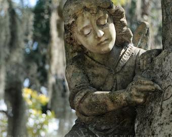 Guardian Angel Statue, Bonaventure Cemetery Savannah, Georgia, Tranquil, Sorrow, Peaceful, Memorial, Oddity, Fine Art Photography