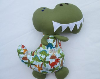 Dinosaur Softie, Ready to Ship, 18 inches, Green with Dinosaur Print Outfit, Prehistoric Toy, Dinosaur stuffed animal, baby toy, toddler toy