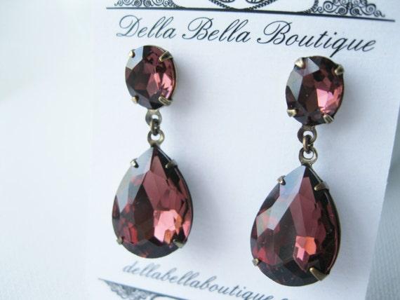 Wine Earrings Burgundy Wedding Jewelry Merlot Bridal Earrings Bridesmaid Studs Old Hollywood Glam Christmas Earrings New Years Eve