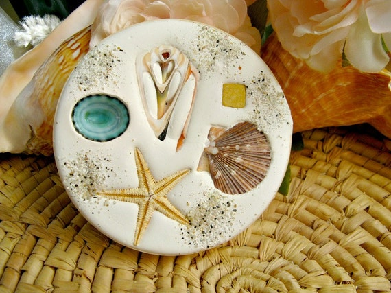 Nautical Coasters. Real seashells in absorbent clay. Set of 4. Made in USA