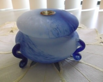 Murano Glass Footed Box Murano Glass Footed Powder Box Murano Glass Vanity Box