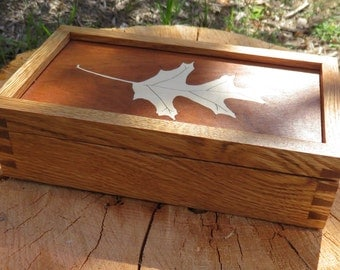 Celebrate Fall with this Handsome Oak Box with Oak Leaf Marquetry