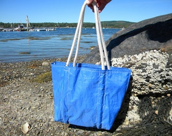 BLUE Sea Bag from Recycled Sail: SailAgainBags and Totes