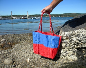 RED and BLUE  Sail Bag from Recycled Sail: SailAgainBags and Totes