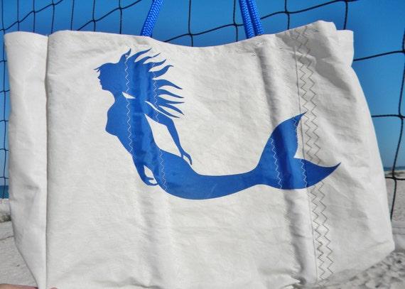 "Blue Mermaid XLG recycled sail bag w/ zip pocket"""