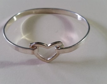 FREE U.S. SHIPPING--Sterling Silver Heart Bangle