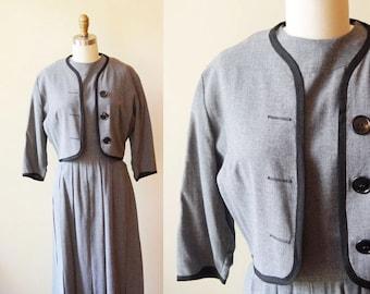1950s grey dress set // Caron Lane // vintage dress