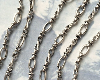 Vintage Standish Chain, Twist Antique Silver Chain,10mm, 2.5Ft