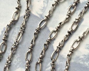 Vintage Standish Chain, Twist Antique Silver Chain,10mm, 2.5Ft