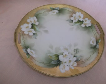 RS Prussia Porcelain Plate Tray Gold Rimmed White Flowers Handled