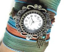 Hamsa Silk Wrap Watch Bracelet Yoga Jewelry Bohemian Turquoise Orange Wrist Watch Band Yoga Wrap Boho Watch Christmas Stocking Stuffer Gift