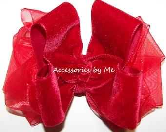 Christmas Red Bow, Velvet Ribbon Clip, Girls Baby Toddler Red Velvet Bow Band, Holiday Festive Wedding Hair Barrette, Santa Photo Shoot Prop