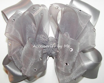 Silver Hair Bow, Sparkly Silver Clip, Baby Girls Silver Organza Satin Hair Bow, Toddler Silver Flower Girl Hairbows, Pageant Bows Barrettes