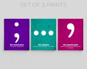 Grammar Posters for Classroom Teacher Gifts for Teachers Semicolon Apostrophe Ellipsis Funny Grammar Prints Office Decor Writer Librarian