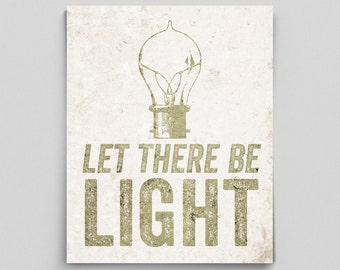 Let There Be Light Poster Vintage Science Poster Antique Light Bulb Print Classroom Poster Gifts for Teachers Science Art Typographic Print