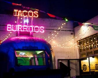 Mexican Wrestling Print - Dramatic colorful photo - Mexican decor - Lucha Libre - Restaurant print - Neon Lights - Festive Photo