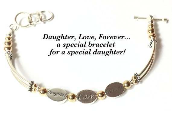 DAUGHTER LOVE FOREVER bracelet, Daughter Gift, Daughter Jewelry, Silver Daughter Bracelet, 3 Wish Bracelet, Word Bracelet, Bangle Bracelet