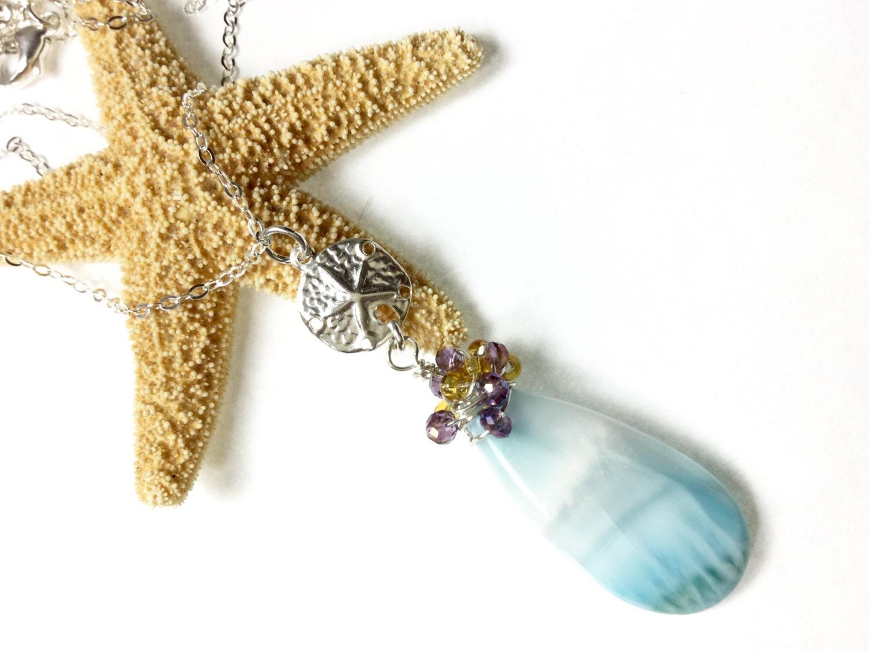 Larimar Necklace, Genuine Larimar, Larimar Jewelry, Larimar Stone, Beach Jewelry, Sand Dollar charm, Sand Dollar Jewelry, Silver Sand Dollar