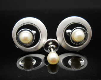 Pearl Cuff Links Set Sterling Silver Tie Pin Toggle Pitman And Keeler Mid Century Modern 925