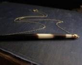 Tube Necklace,Porcupine Necklace,Porcupine Quill Necklace,Bar Necklace,Porcupine Quill Gold,Quill Necklace,Gold Edged Quill,Simple Jewelry