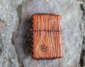 """Wasteland Oddities Leather Lighter. Hand Tooled """"Wood Grain"""" Custom Leather Lighter-"""