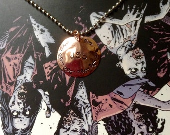 WALKING DEAD JSS hand cut, hand stamped copper necklace